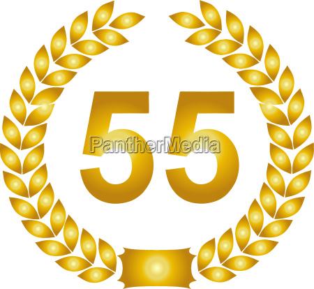 golden laurel wreath 55 years