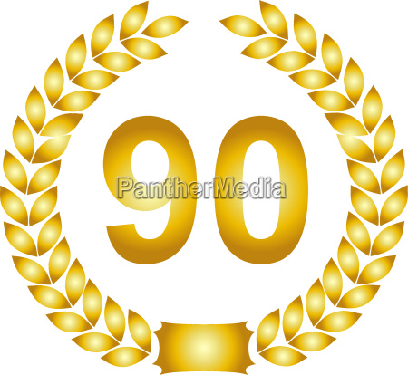 golden laurel wreath 90 years