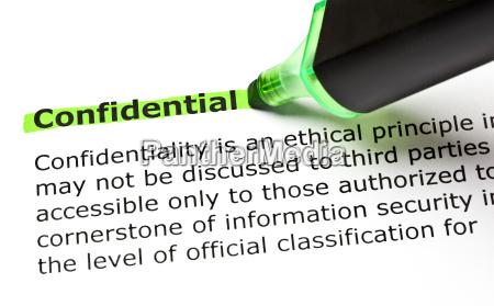 confidential evidenziato in verde