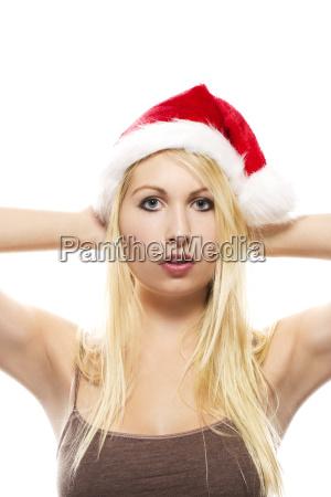 beautiful blond woman with a nikolausmuetze