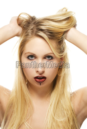 beautiful blonde woman with chocolate covered