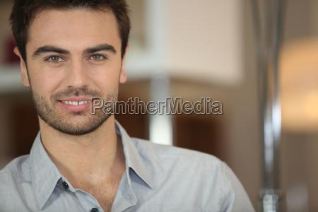 portrait of handsome dark haired man