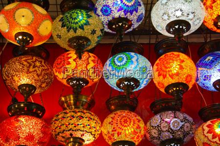 lanterne lampade illuminato bazar turco colorato