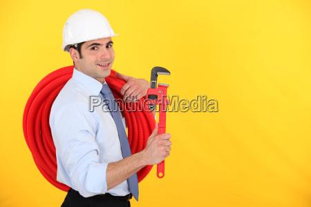 happy entrepreneur on yellow background