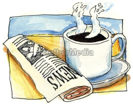 giornale tageblatt tazza pausa caffe spuntino
