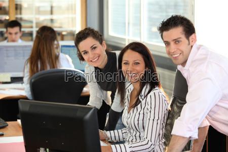 happy office team