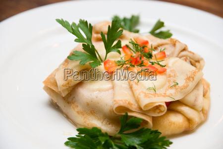 primo, passo, di, pancake, con, vegetazione - 5797775