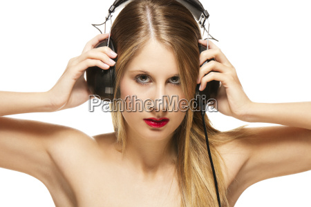 young beautiful woman with headphones
