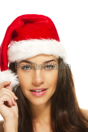 young beautiful brunette weihnachtsfrau
