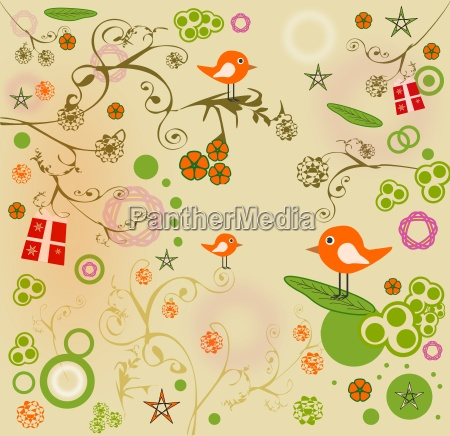 background with birds and various objects