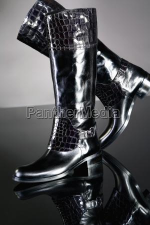 stivale moda nero scarpe pelle lacca