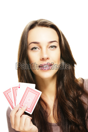 brunette beautiful woman with poker cards