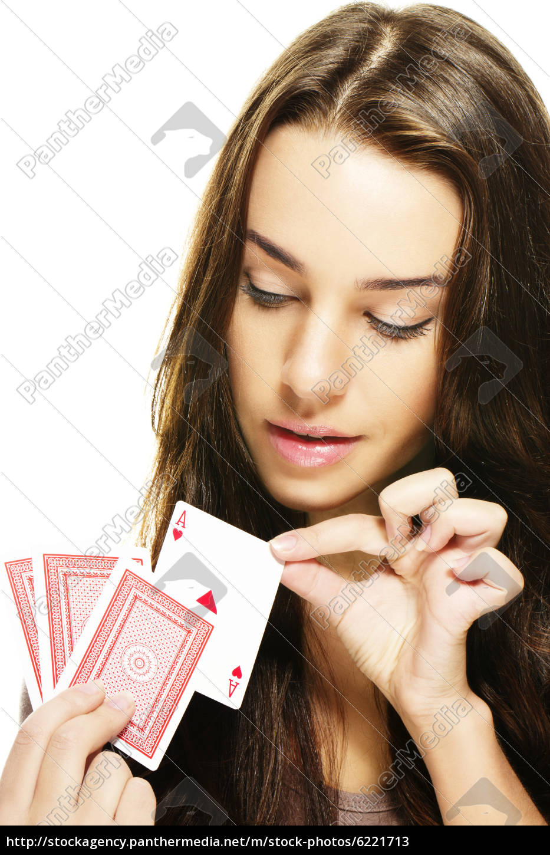 giovane, bella, donna, sceglie, una, carta - 6221713