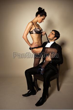 uomo, d'affari, con, sexy, escort - 6455903