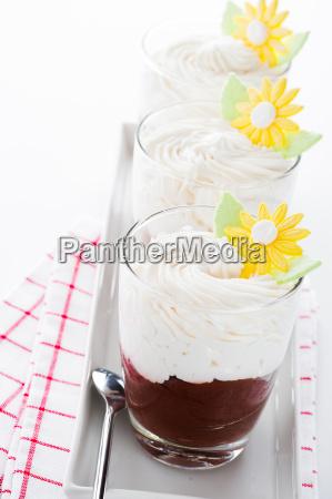 bicchiere cibo dolce panna carino dessert