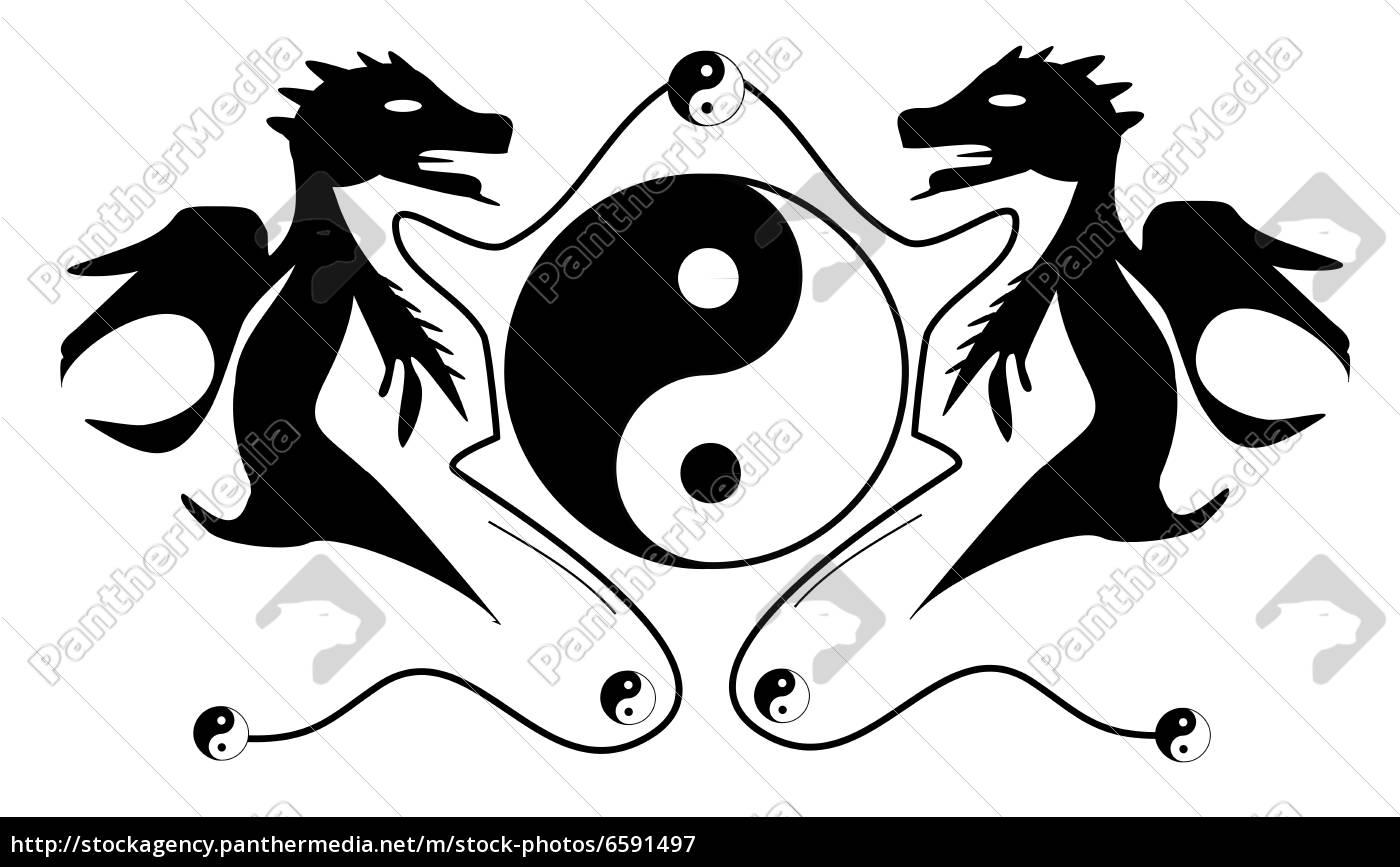 drachen, mit, yingyang, symbol - 6591497