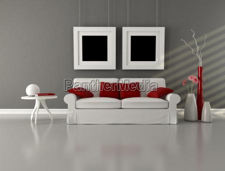 soggiorno minimalista grigio bianco e rosso