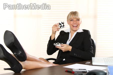 woman takes break in office
