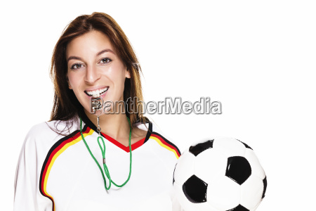 young woman in football shirt with