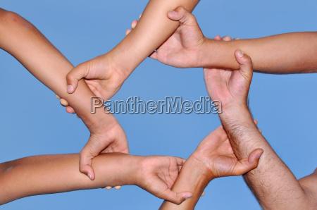mano mani amicizia anello con successo