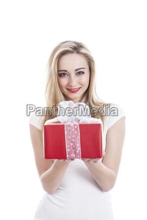 young woman cheerful with gifts for