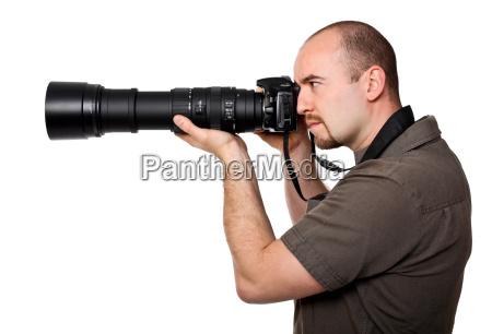 caucasico bianco macchina fotografica fotografo reporter