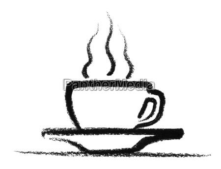 calda tazza abbozzato