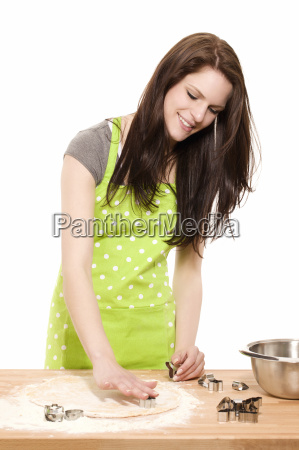 young woman at baking for christmas