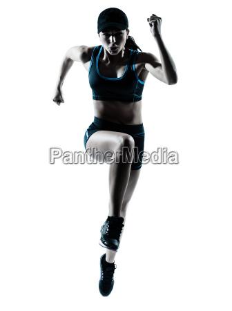 donna corridore jogger che salta
