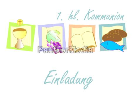 moderno colorato simboli invito cristiano comunione