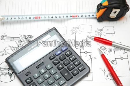progettare disegni calcolatrice penne e nastro