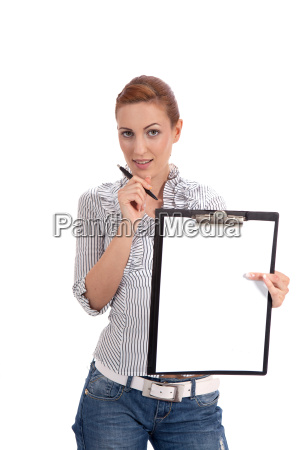 young business woman with clipboard