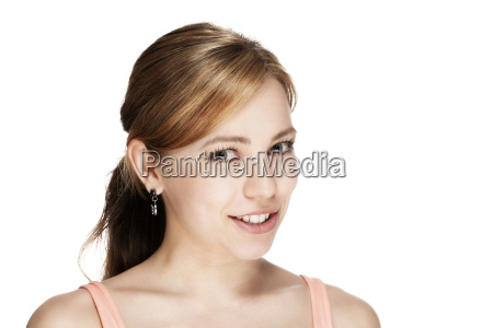 portrait of a beautiful blond smiling