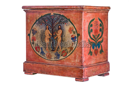 antico cassone cofano dipinto adamo rosa
