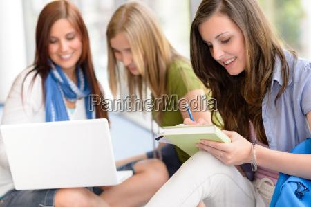gruppo di studenti adolescenti studiano al