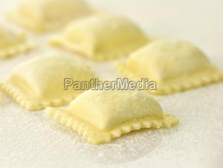 uncooked ravioli close up