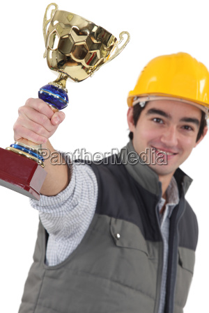 laborer showing a cup