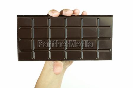hand holding chocolate bar