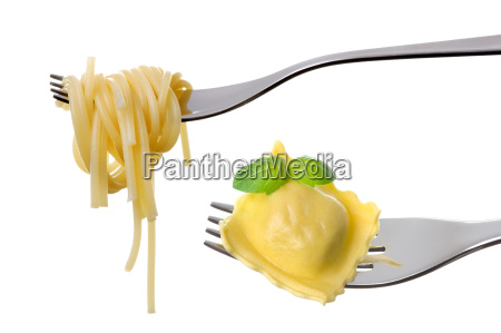spaghetti and ravioli on forks white