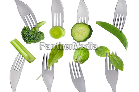 healthy raw green food selection on