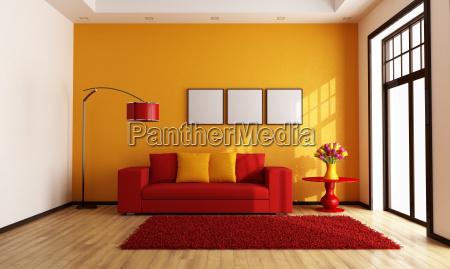 rosso e arancio soggiorno