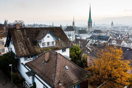 aerial view on tiled roofs and