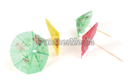colorful cocktail umbrellas white isolated