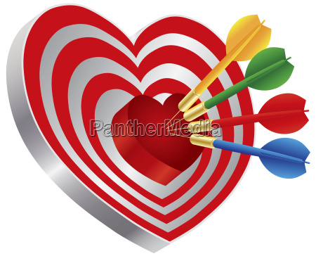 freccette a forma di cuore bullseye