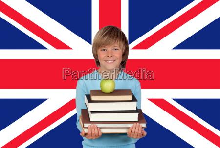 bandiera libri inglese bambino fondale di