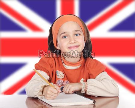 risata sorrisi bandiera sedersi inglese bambino