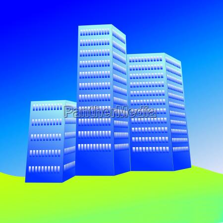 blu casa grattacielo costruzione grafico illustrazione