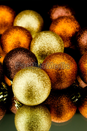 christmas decoration balls shining in orange