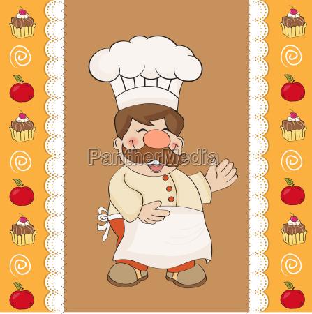 sfondo con chef sorridente e menu