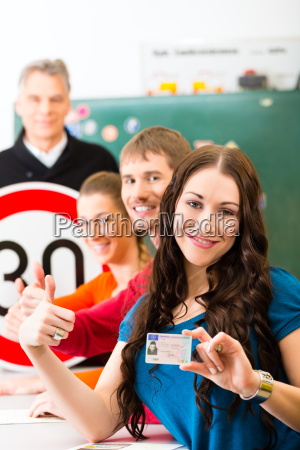 driving instructor with his class